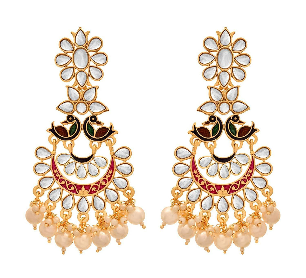 JFL - Traditional Ethnic One Gram Gold Plated Peacock Designer & Kundan Chandbali Earring for Girls and Women.