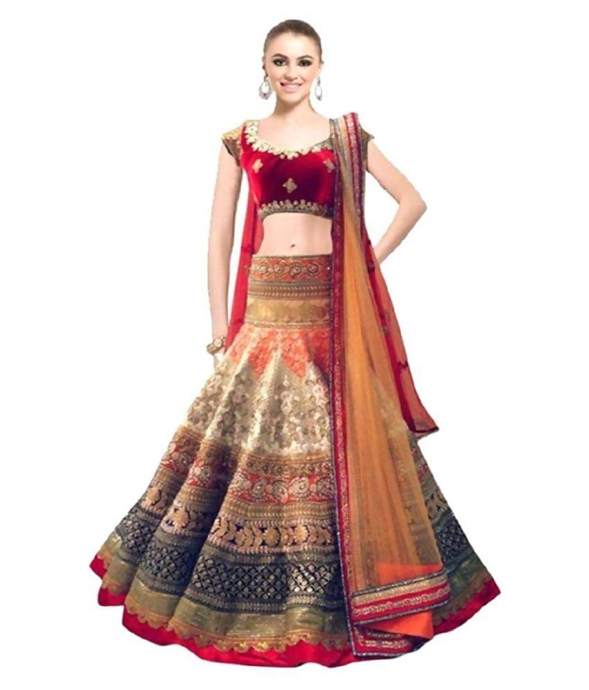 Madhav Design Hetvi Chiku Embroidered Semi Stitched Lehenga, Choli and Dupatta Set (Multicolor)