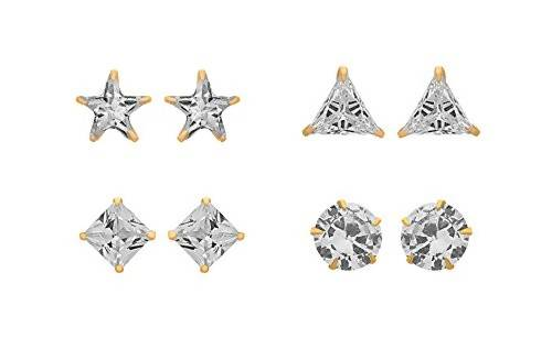 JFL - Jewellery for Less 1g Gold Plated CZ Diamond Stud Earrings for Women - Pack fo 4