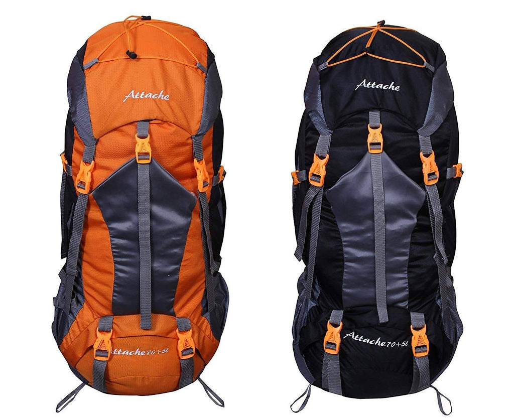 Attache 1025R Rucksack, Hiking Backpack 75Lts (Orange & Black) Set of 2 With Rain Cover