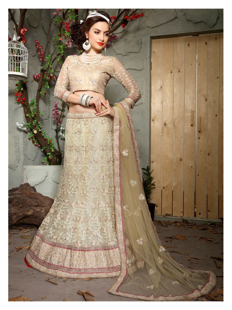 Aasvaa Marvellous Women's Embroidered Net Lehenga Choli With Un-Stitched Blouse (MIKLA61A_Papayawhip_Free Size)