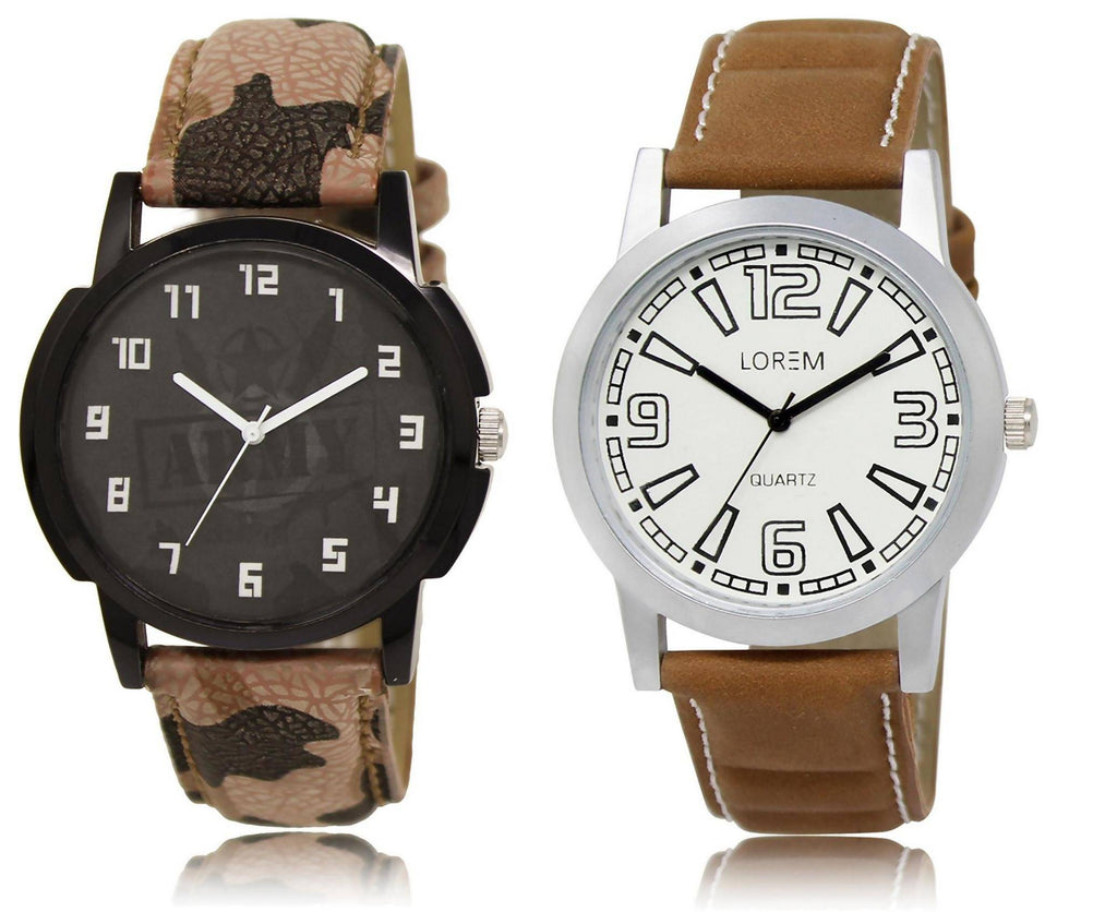 LOREM LR3-15 COMBO White & Black Round Boy's Leather Watch - For Men