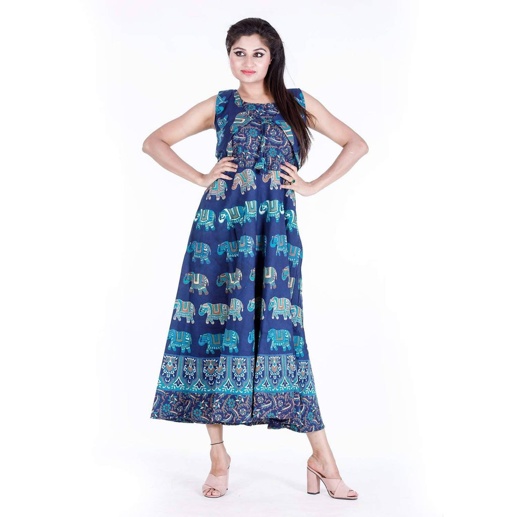 DHRUVI Party Free Size Jaipuri Elephant Print Long Cotton Maxi Dress for Women (with Front Jacket, up to XXL Size)