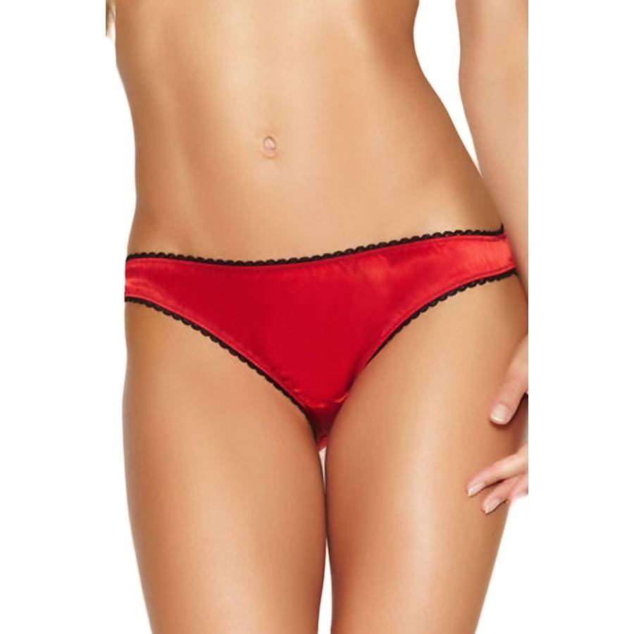 LOVEMATE FRENCH RED AND BLACK BACK BOW SATIN PANTY