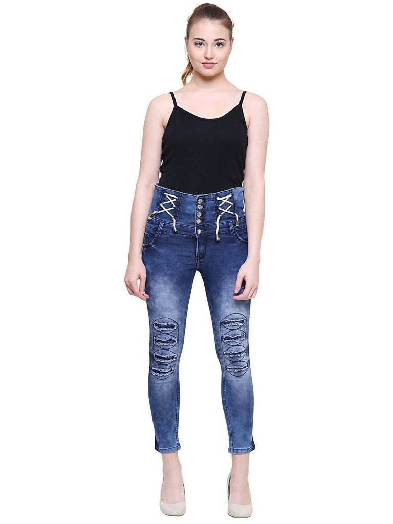 DAMEN MODE Five Button Thread Stylish Ripped Jeans