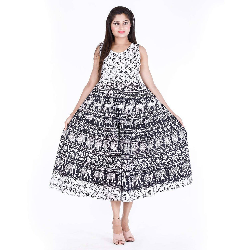 DHRUVI Party and Casual Wear Free Size Jaipuri Print White Long Cotton Maxi Dress for Women (up to XXL Size)