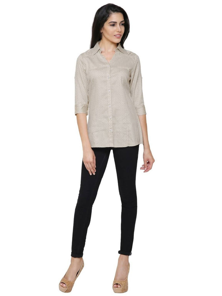 Govil 3/4 Sleeve Beige Shirt for Women