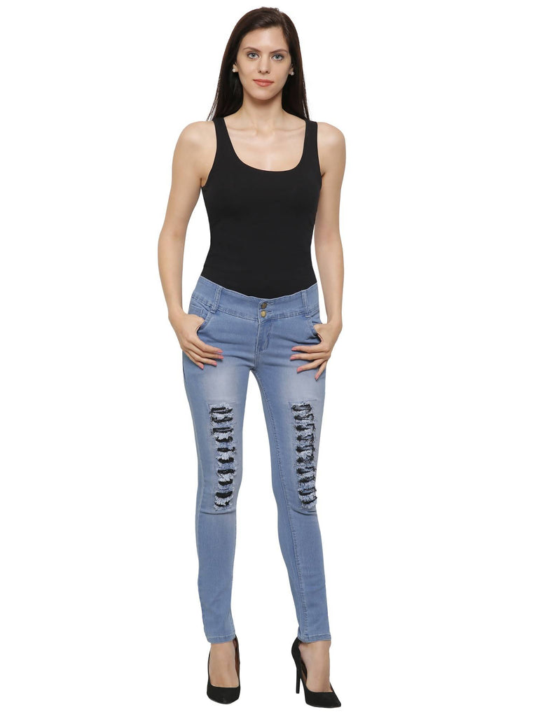 NJ's, Women Skinny Fit, Ice Blue, Silky Denim Jeans