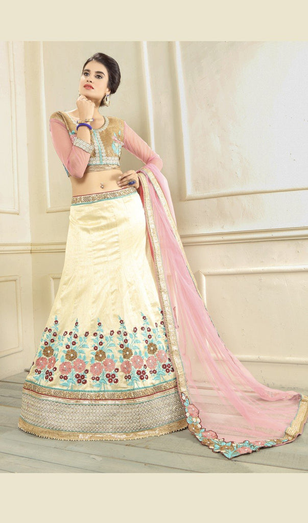 Aasvaa Worthy Women's Embroidered Silk Lehenga Choli With Un-Stitched Blouse (NMMYA413_Off White_Free Size)
