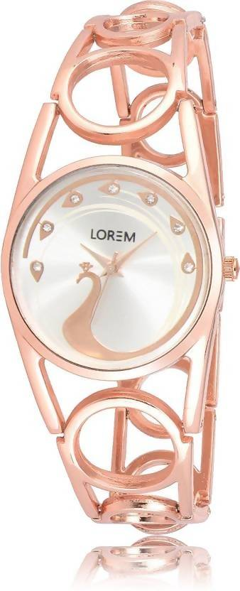 LOREM LR233 Silver Pink Metal Bracelet Diamond Watch - For Women