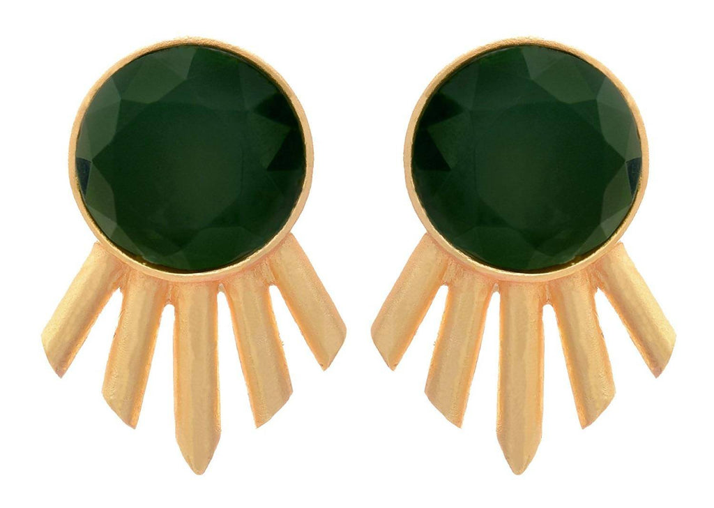 JFL - Fusion Ethnic One Gram Matt Gold Plated Designer Earrings for Girls and Women