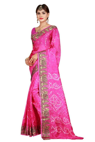 HARSHITA CREATION ART SILK PINK HAND WOWEN BANDHANI SAREE