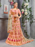 Peach Pure Silk A-Line Semi-Stitched Lehenga Choli