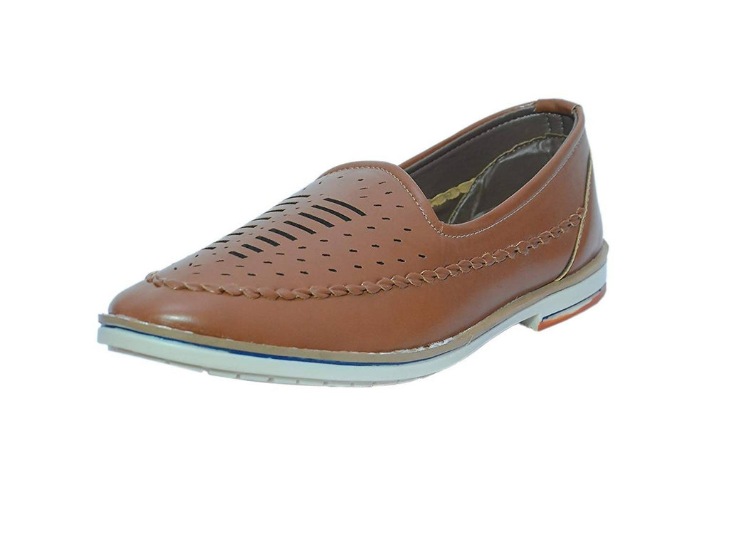 Xylus Men's Casual Tan Synthetic Leather Fabric Belt Closure Loafers/Romman Shoes/Slip - On/Mojari/Jutti Comfortable Light Weight