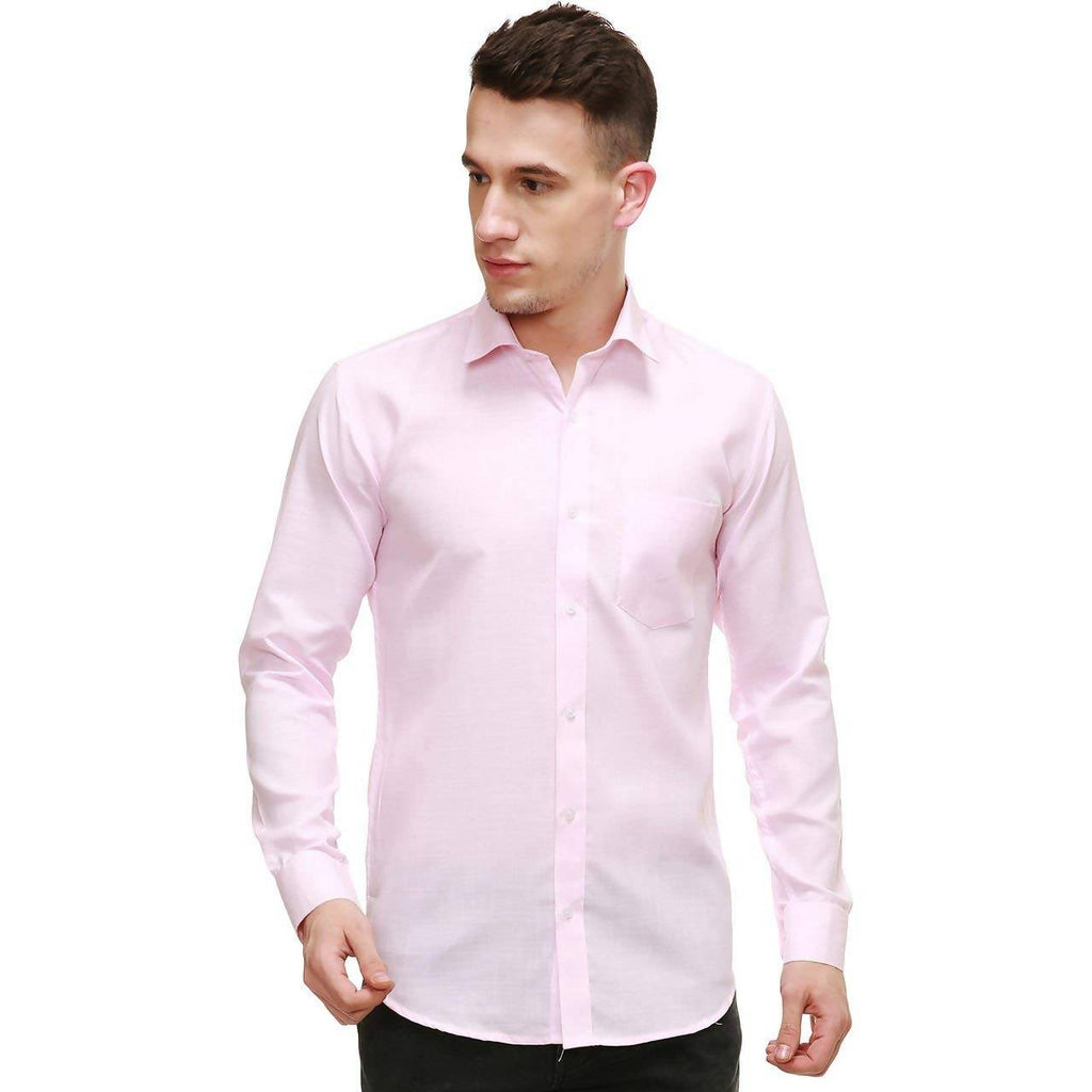 NIMEGH LIGHT PINK COLORED COTTON CASUAL SOLID SHIRT FOR MEN