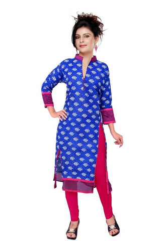 State Blue & Pink Kurtis Quality Cotton Cambric Print