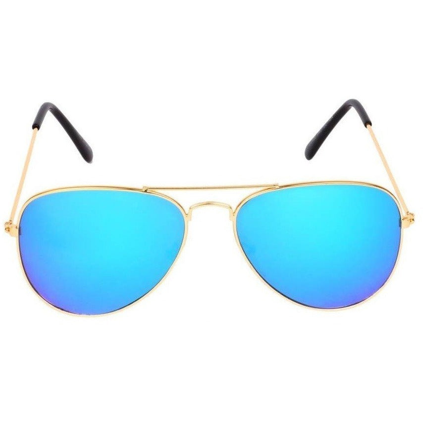 Blue Aviator Golden Sunglass For Men