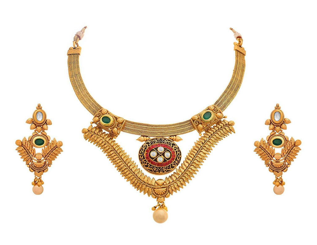 JFL - Traditional Ethnic One Gram Gold Plated Diamond Necklace Set for Women & Girls.