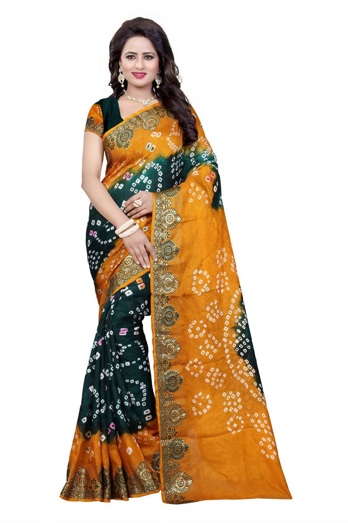 HARSHITA CREATION ART SILK GREEN & YELLOW HAND WOWEN BANDHANI SAREE