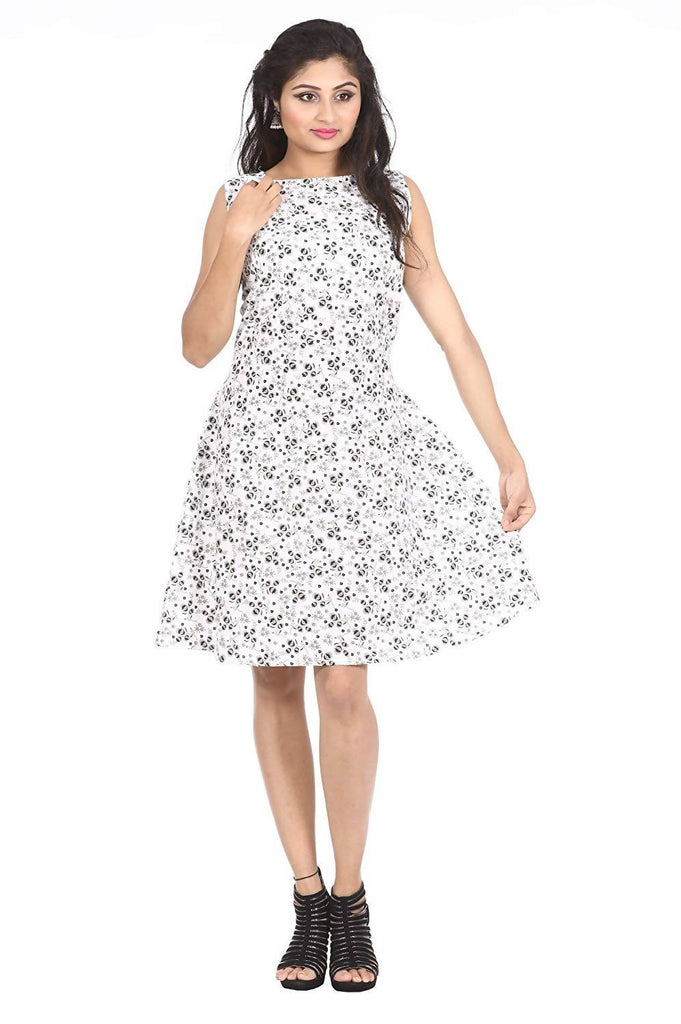 Dhruvi Casual Wear and Party Wear Abstract Print Cotton Cambric Knee Length Dress (Free Size up to XXL)