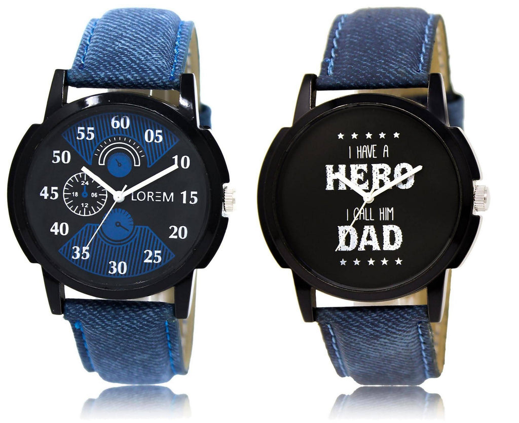 LOREM LR2-7 COMBO Black Round Boy's Leather Watch - For Men