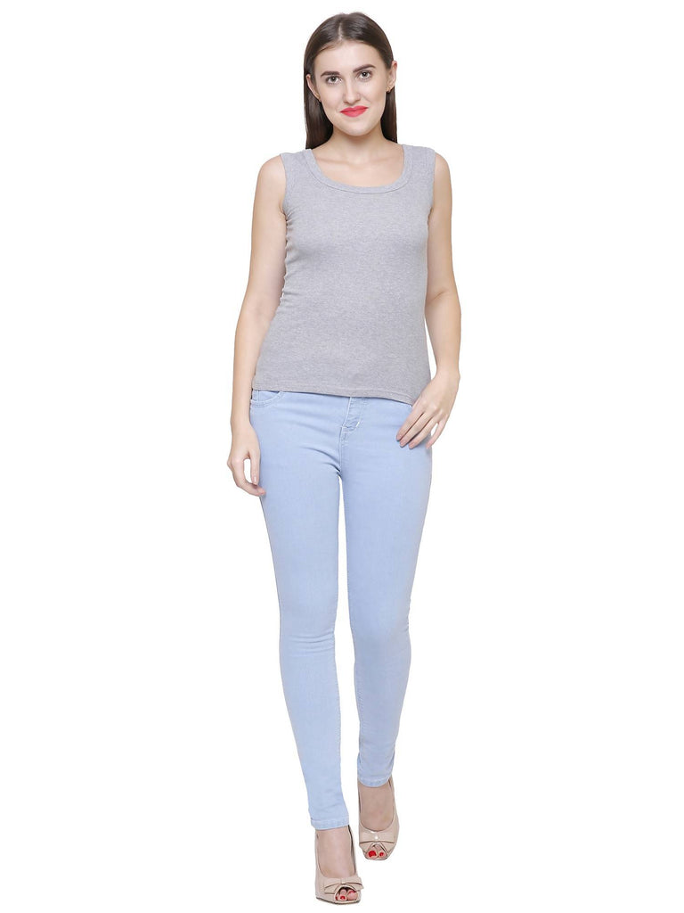 NJ's, Women Skinny Fit, Ice Blue, Dobby Denim Jeans