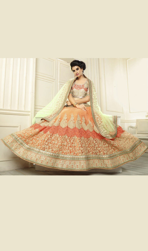 Aasvaa Appealing Women's Embroidered Net Lehenga Choli With Un-Stitched Blouse (NMMYA432_Orange_Free Size)