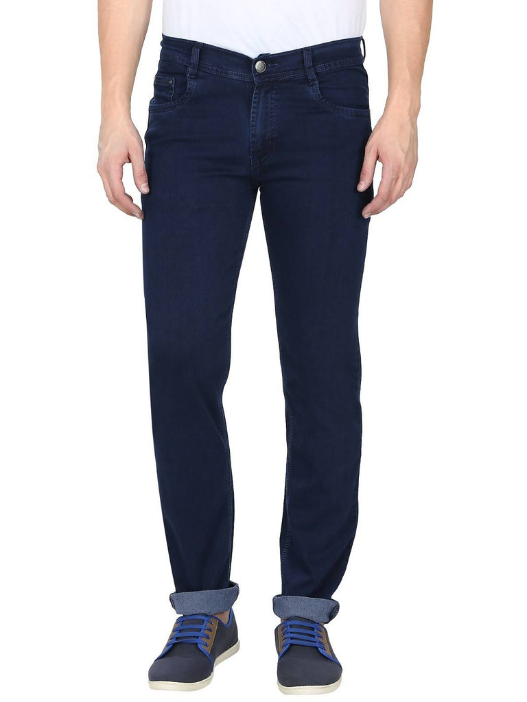 Gradely Men's Regular Fit Navy Blue Jeans