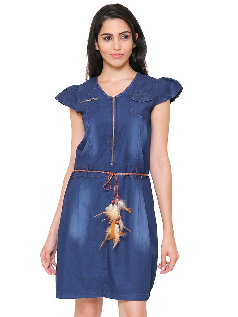 Govil Half Sleeve Women Navy Blue Denim Dress