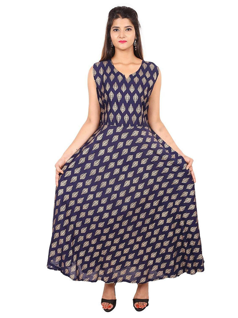 Dhruvi Party Wear Women's Jaipuri Print Rayon Gold Print Long Dress in Elegant Print in Free Size (Purple, up to S-XXL)
