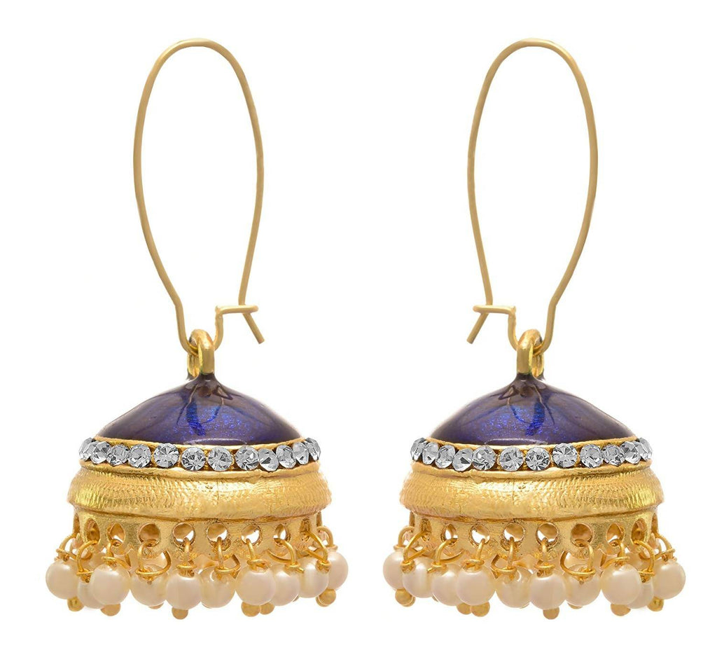 JFL - Traditional Ethnic One Gram Gold Plated Pearls Meenakari Designer Jhumki Bali Earring for Girls & Women