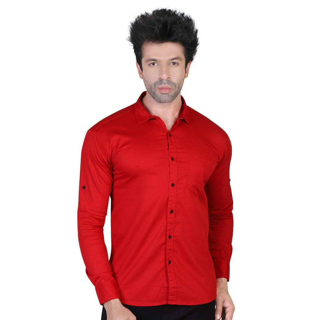 Denim Vistara Men's Red Colored Cotton Stretchable Slim Fit Full Sleeves Shirt