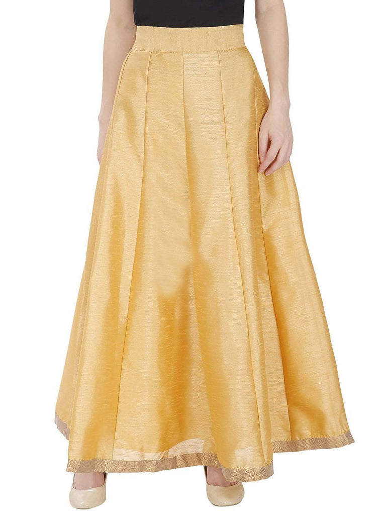 DAMEN MODE Women Golden Solid Silk Skirt - Free Size