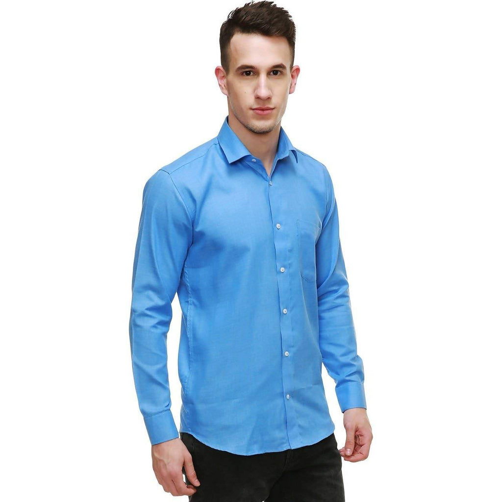 NIMEGH SKY BLUE COLORED COTTON CASUAL SOLID SHIRT FOR MEN'S