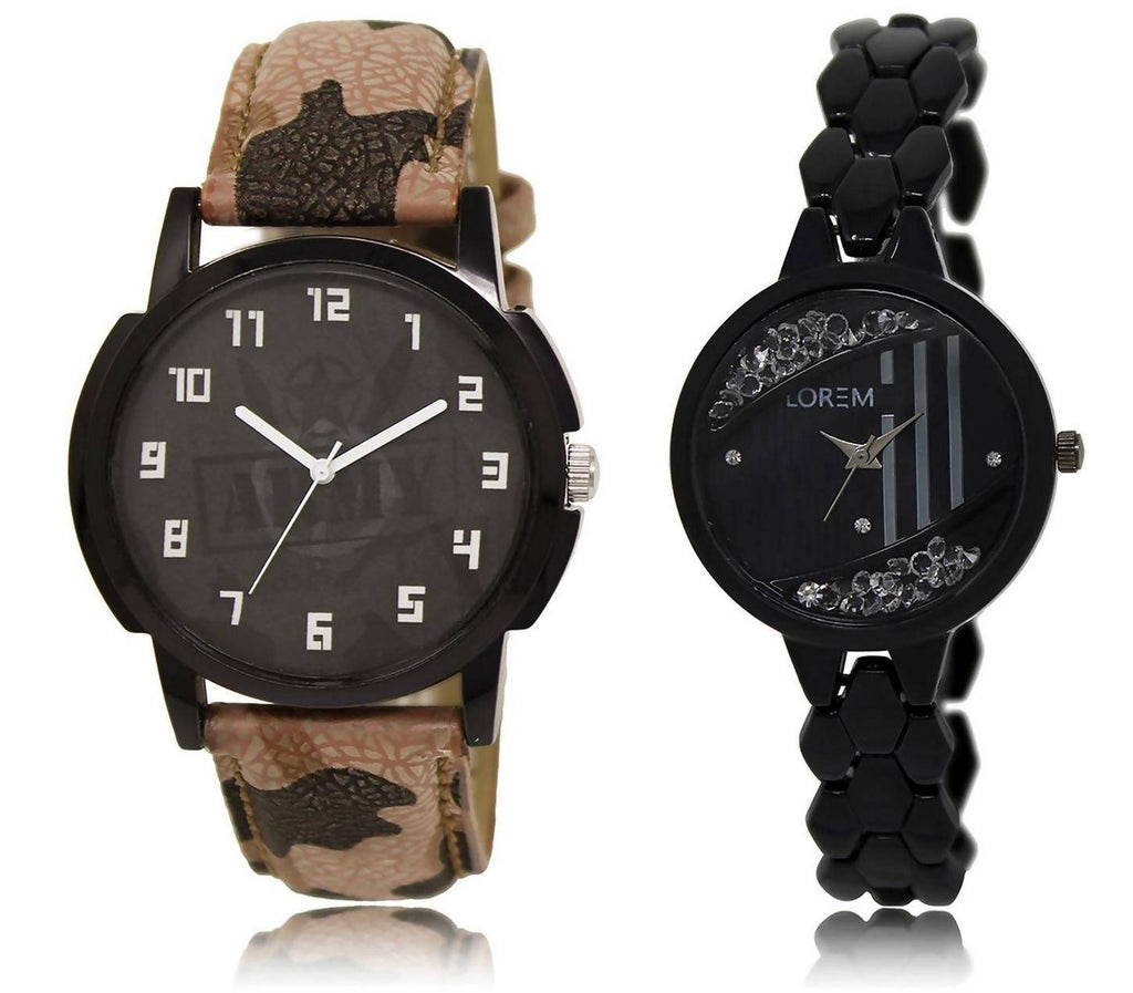 LOREM LR3-221 Stylish Black Round Boy's & Girl's Metal Bracelet & Leather Watch - For Men & Women