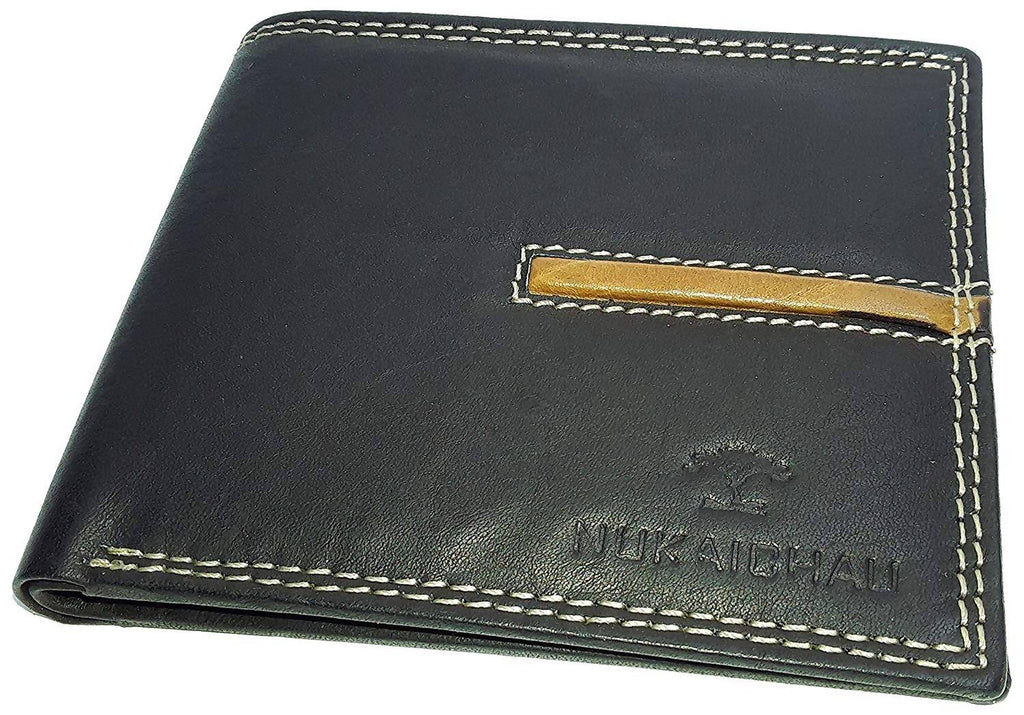 NUKAICHAU Black Tan Single Fold Men's Leather Wallet