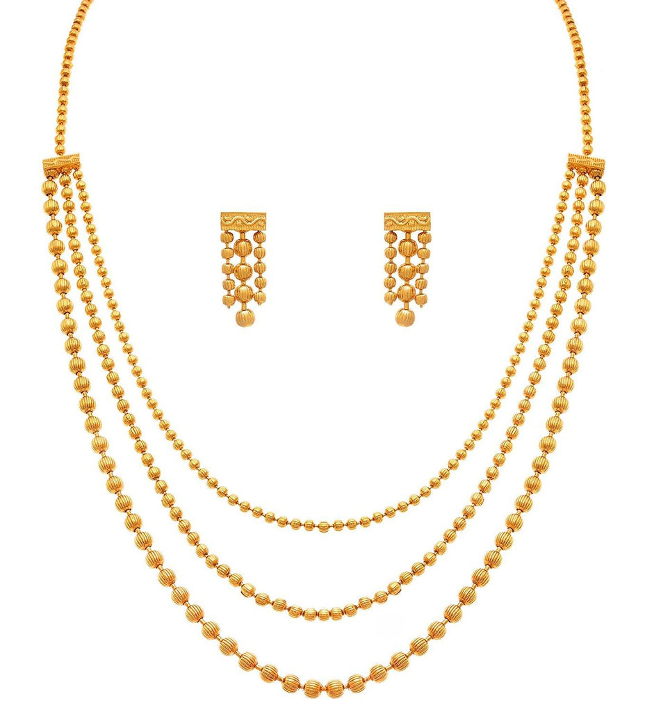 JFL - Jewellery for Less Gold Plated Necklace & Earrings Set For Women
