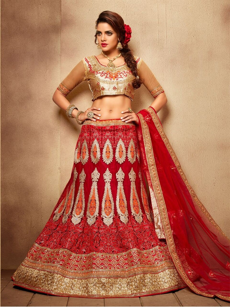 Aasvaa Smashing Women's Embroidered Net Lehenga Choli With Un-Stitched Blouse (NMMJA7003A_Royal Red_Free Size)