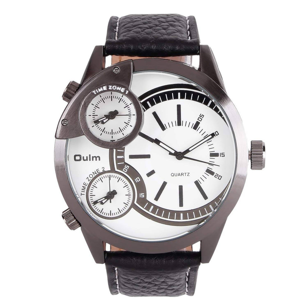 Oulm HP3136GUNWH Multifunction White Dial Leather Strap Wrist Watch / Casual Watch - For Men's