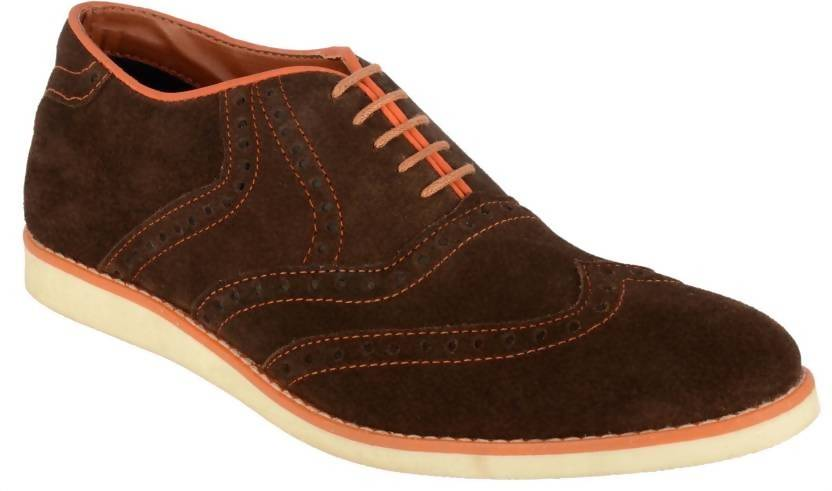 Goosebird Men's Suede Leather Oxford Shoes Casual Lace up Dress Shoes Lace Up For Men  (Brown)