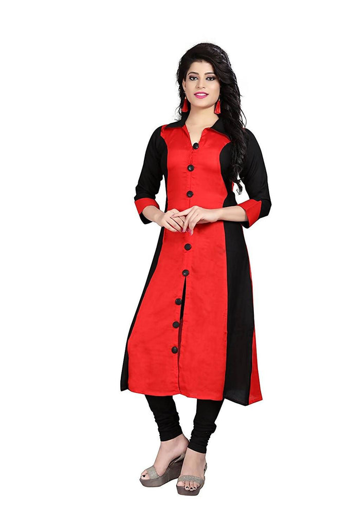 Reeva Trendz Women's Dress Red And Black Kurti