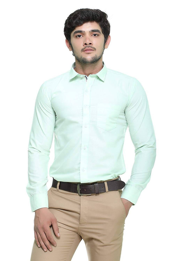 Nimegh Aqua Marine Colored Cotton Casual Solid Shirt For Men