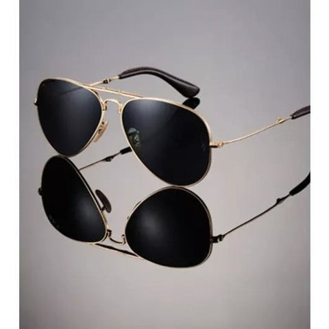 Black With Golden Frame Aviator Sunglasses For Men