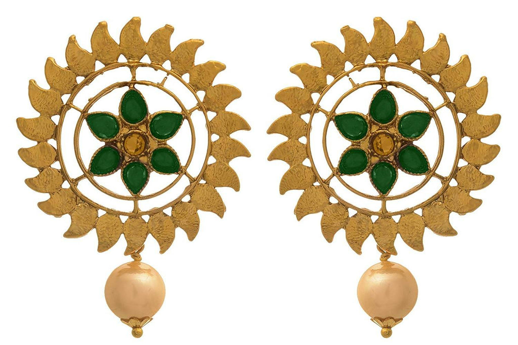 JFL - Traditional Ethnic One Gram Gold Plated Diamoond & Pearl With Floral Designer Earring For Women & Girls.