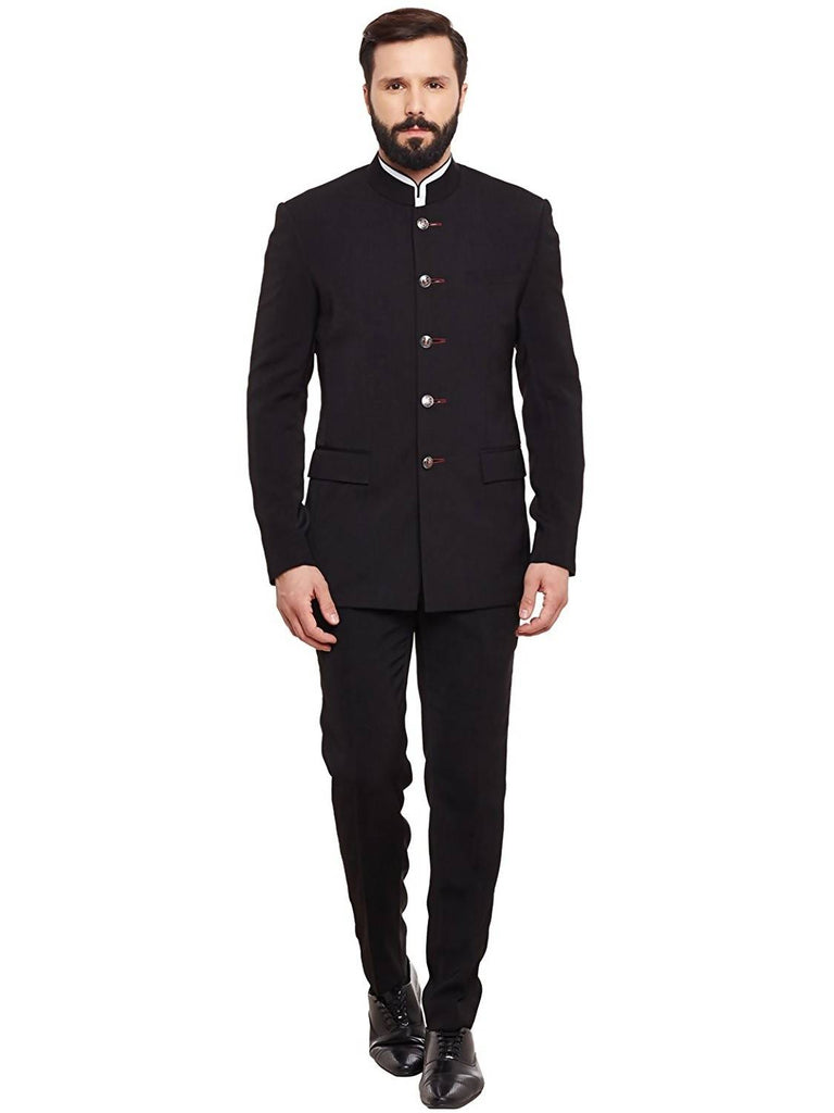 Alvin Kelly The Solid Bandhgala Black Color Party Men's Suit with Trouser