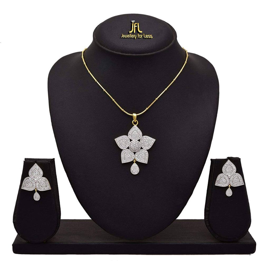 JFL-Fusion Ethnic One Gram Gold Plated Cz American Diamond Designer Pendant Set with Earring for Women & Girls.