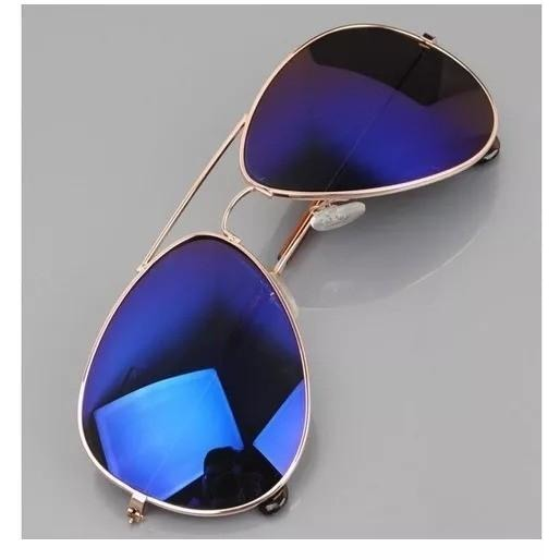 Blue Mercury With Golden Frame Aviator Sunglasses For Men