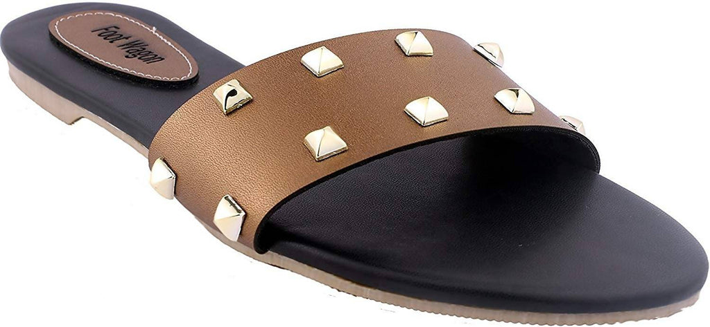 foot wagon Copper Stud Strap |Flats | Ladies Slippers |Girls Slippers