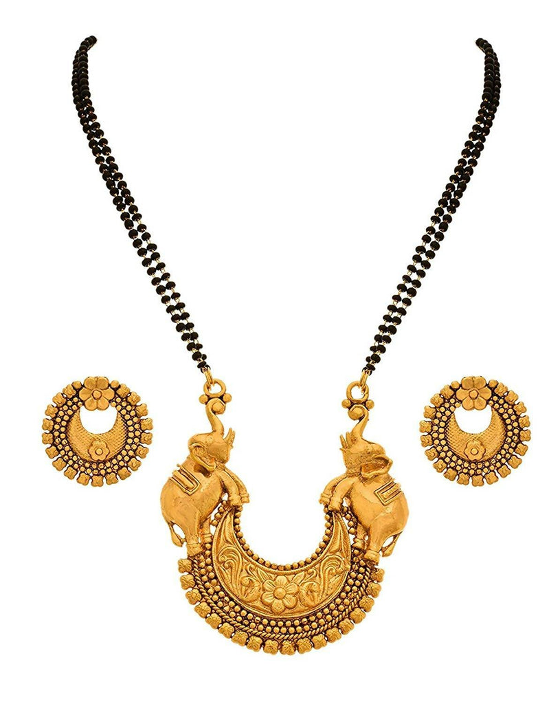 BFC Ethnic Elephant Designer Big Pendant 24-inches Long Mangalsutra for Women