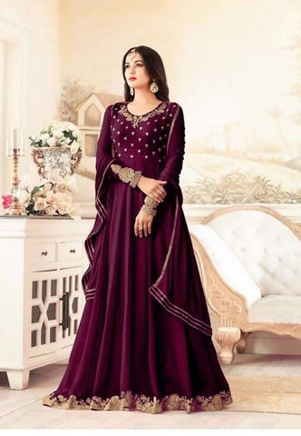 Reeva Trendz Women's Purple Heavy Semi-Sttiched Salwar Suitt